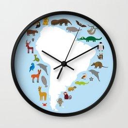 South America sloth anteater toucan lama armadillo manatee monkey dolphin Maned wolf raccoon jaguar Wall Clock