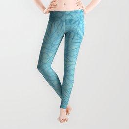 Abstract blue thistle mandala Leggings