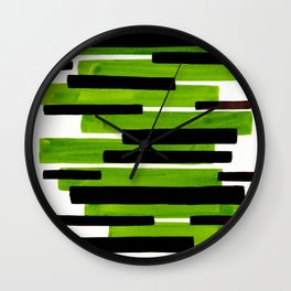 Lime Green Primitive Stripes Mid Century Modern Minimalist Watercolor Gouache Painting Colorful Stri Wall Clock