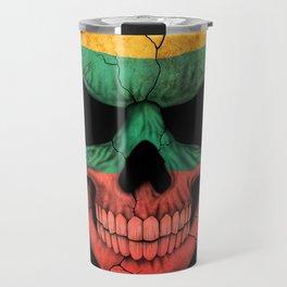 Dark Skull with Flag of Lithuania Travel Mug
