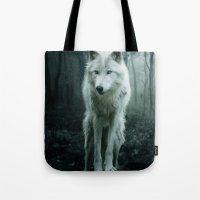 arya stark Tote Bags featuring Wolf by Julie Hoddinott