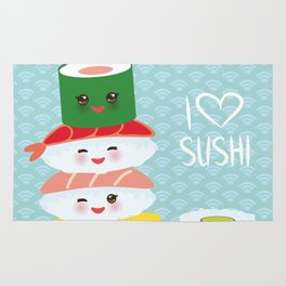 I love sushi. Kawaii funny sushi set with pink cheeks and big eyes, emoji. Blue japanese pattern Rug
