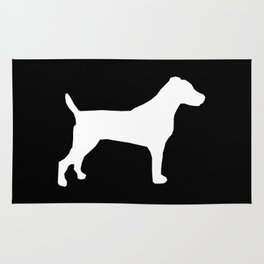 Jack Russell Terrier black and white minimal dog pattern dog silhouette Rug