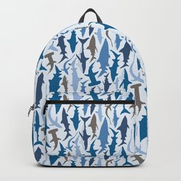 Swimming with Sharks in Blue and Grey Backpack