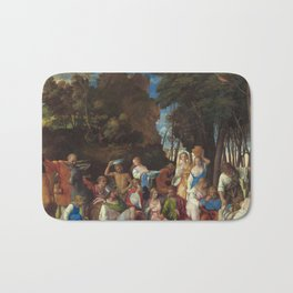The Feast of the Gods Painting by Giovanni Bellini and Titian Bath Mat