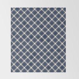 Navy Blue, White, and Black Diagonal Plaid Pattern Throw Blanket
