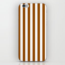 Narrow Vertical Stripes - White and Brown iPhone Skin