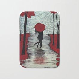 Red Autumn Rain Romance Bath Mat