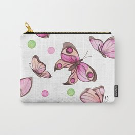 Watercolor Pink Butterflies and Colorful Dots Carry-All Pouch