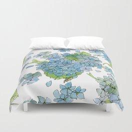Blue Hydrangea Watercolor Duvet Cover
