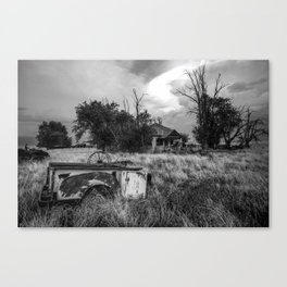 Half Truck - Rusty Old Pickup Bed and Abandoned House in Oklahoma Panhandle Canvas Print