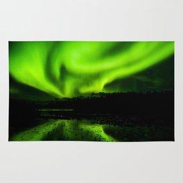 aurora borealis northern lights sky Rug