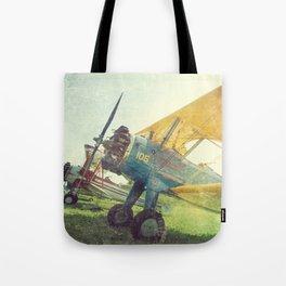 Preflight Biplane // Antique Airplanes Tote Bag
