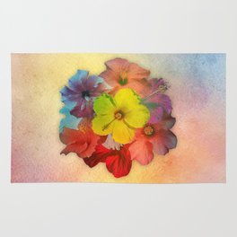Colorful Hibiscus Bouquet Rug