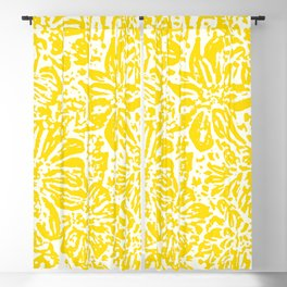 Gen Z Yellow Marigold Lino Cut Blackout Curtain