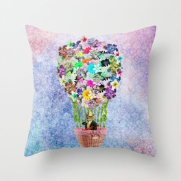 Teal Pink Vintage whimsical cat floral Air balloon Throw Pillow