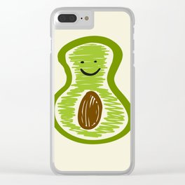 Smiling Avocado Food Clear iPhone Case