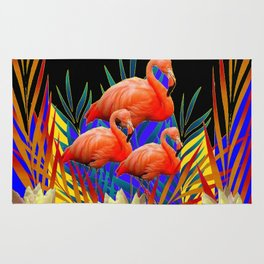 ABSTRACT BLACK-PURPLE FLORIDA FLAMINGO WATER LILIES Rug