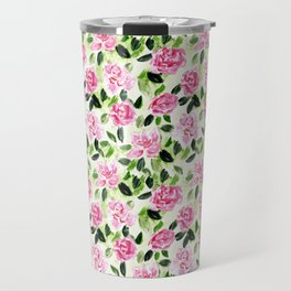 Pink and Green Garden Floral Pattern Travel Mug
