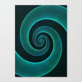 Magical Teal Green Spiral Design Canvas Print