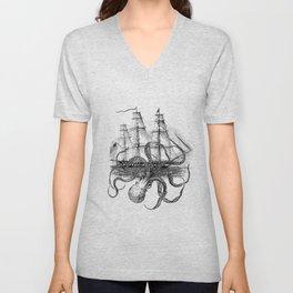 Octopus Kraken attacking Ship Antique Almanac Paper Unisex V-Neck