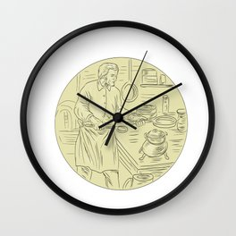 Medieval Cook Kitchen Oval Drawing` Wall Clock