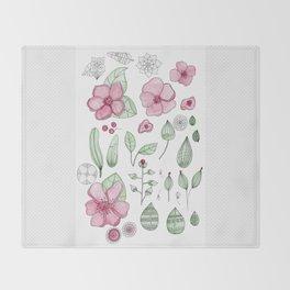 Watercolor Flower Throw Blanket