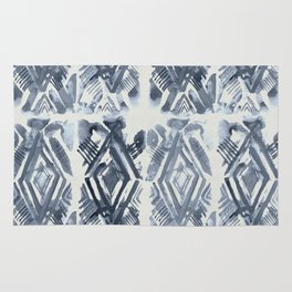 Simply Ikat Ink in Indigo Blue on Lunar Gray Rug