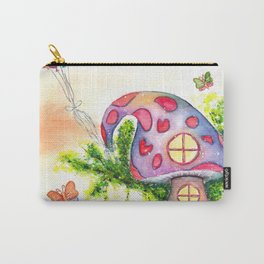 Mushroom House Watercolor Painting Carry-All Pouch