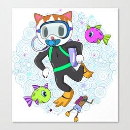 Scuba Diving Cat with Poop Snorkler Canvas Print