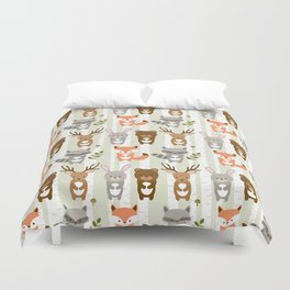 Cute Woodland Forest Animals Duvet Cover