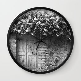 Old Italian wall overgrown with roses Wall Clock
