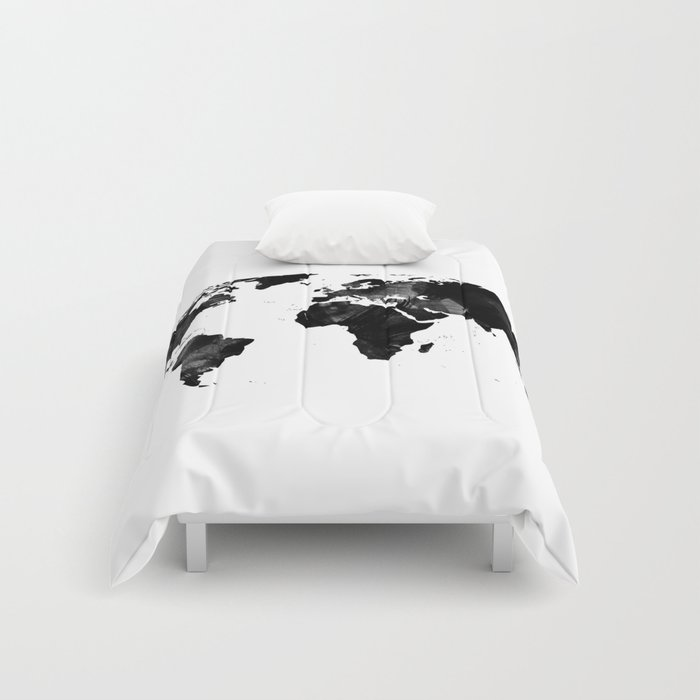 Black watercolor world map comforters by ummuhanuslu society6 gumiabroncs Gallery