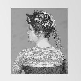 Tattooed Victorian Woman Throw Blanket