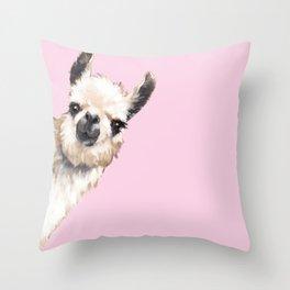 Sneaky Llama Throw Pillow