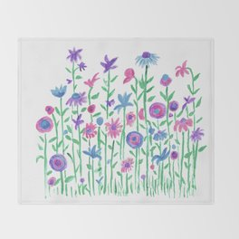 Cheerful spring flowers watercolor Throw Blanket