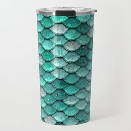 Aqua & Mint Mermaid Glitter Scales - Luxury Mermaid Scales Travel Mug