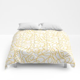 Doodle Line Art | Mustard Yellow Lines on White Comforters