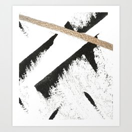 Sassy: a minimal abstract mixed-media piece in black, white, and gold by Alyssa Hamilton Art Art Print