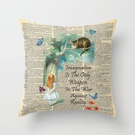 Alice In Wonderland Quote - Imagination - Dictionary Page Throw Pillow