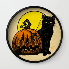 Still Life with Feline and Gourd Wall Clock