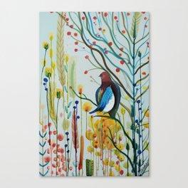 sous les branches Canvas Print