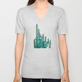 cactus jungle watercolor painting Unisex V-Neck