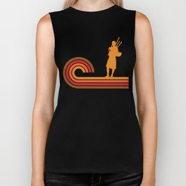 Retro Style Bagpipes Silhouette Music Biker Tank