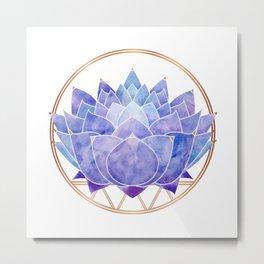 Violet Zen Lotus Metal Print