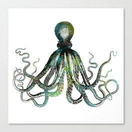 Octopus marine life watercolor art Canvas Print
