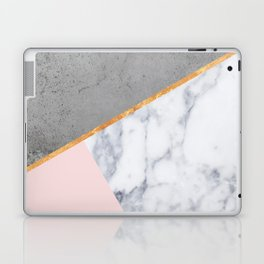 Marble Blush Gold gray Geometric Laptop & iPad Skin
