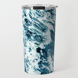 Water, Sea, Ocean, Wave, Blue, Nature, Modern art, Art, Minimal, Wall art Travel Mug