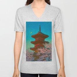 Vintage Japanese Woodblock Print Pastel Colors Blue pink Teal Shinto Shrine Cherry Blossom Tree Unisex V-Neck