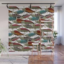 Alaskan salmon white Wall Mural